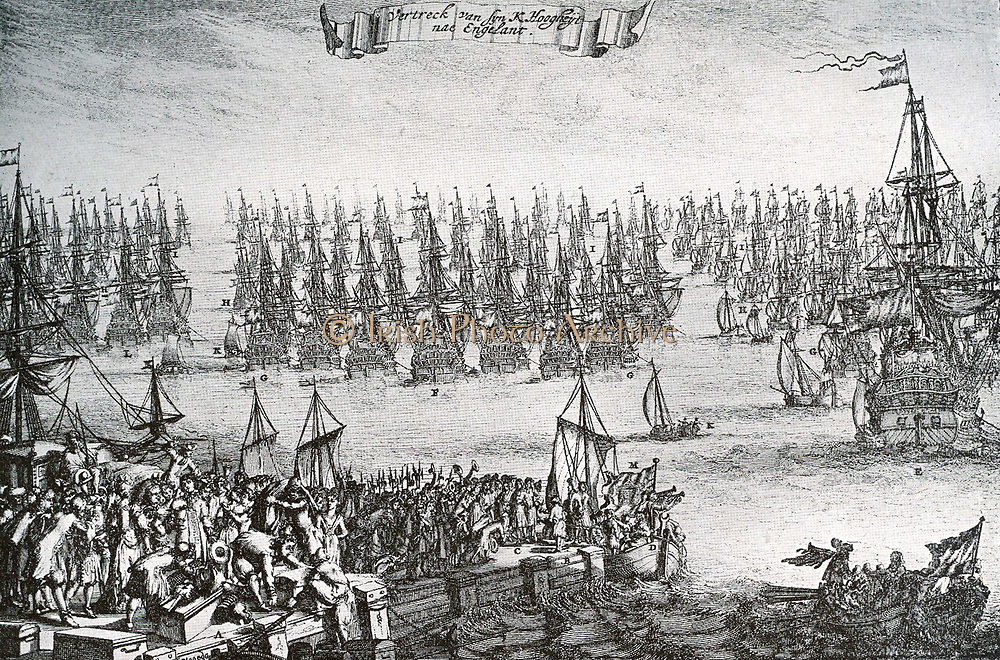 William III landed at Torbay on 5 November 1688 in 463 ships, unopposed by the Royal Navy and with an army of 14,000 troops which gathered local support and grew to over 20,000.  It became known as 'The Glorious Revolution'.