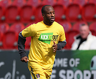 Sone Aluko of Fulham wears a Kick It Out t-shirt whilst warming up prior the Sky Bet Championship match at the New York Stadium, Rotherham<br /> Picture by James Wilson/Focus Images Ltd 07709 548263<br /> 01/04/2017