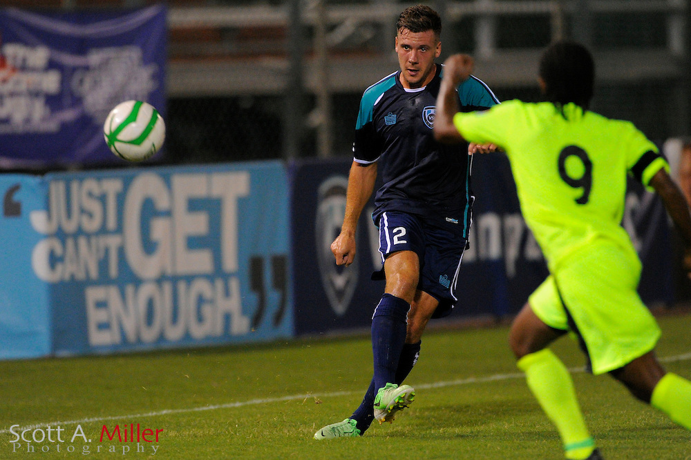VSI Tampa Bay FC defender Jamie McGuinness (2) in action against Antigua Barracuda in a USL Pro soccer match at Plant City stadium in Plant City, Florida on June 7, 2013. VSI won 8-0.<br /> <br /> &copy;2013 Scott A. Miller