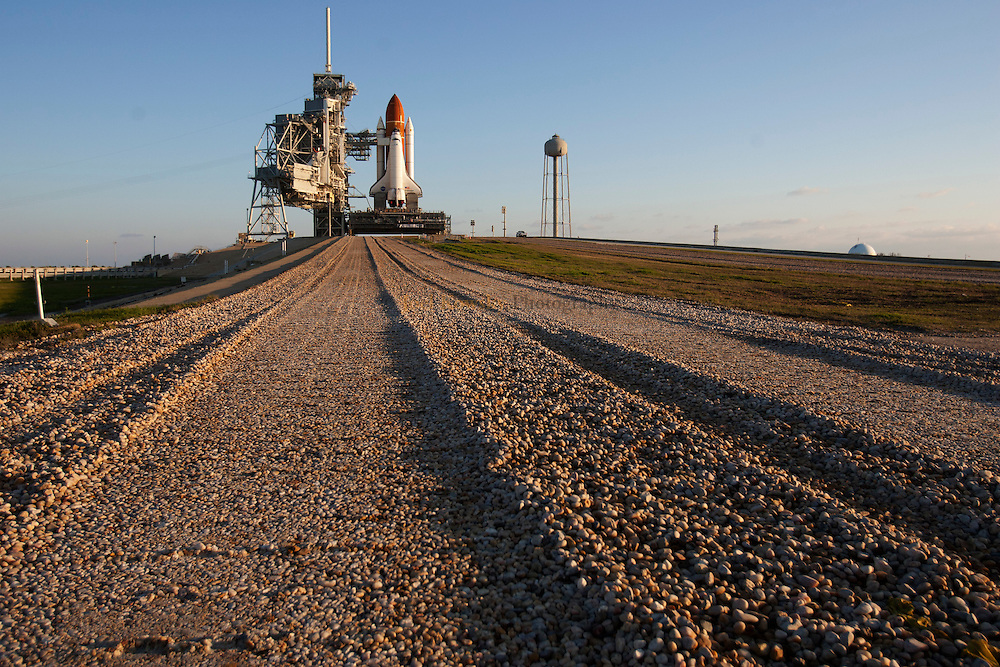Space Shuttle Endeavour sits on to Pad 39A on Friday, March 11, 2011.  STS-134 is scheduled to launch on April 19, 2011.
