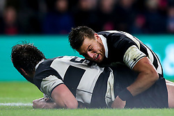 Lood de Jager of Barbarians celebrates with teammates after scoring a try - Mandatory by-line: Robbie Stephenson/JMP - 01/12/2018 - RUGBY - Twickenham Stadium - London, England - Barbarians v Argentina - Killick Cup