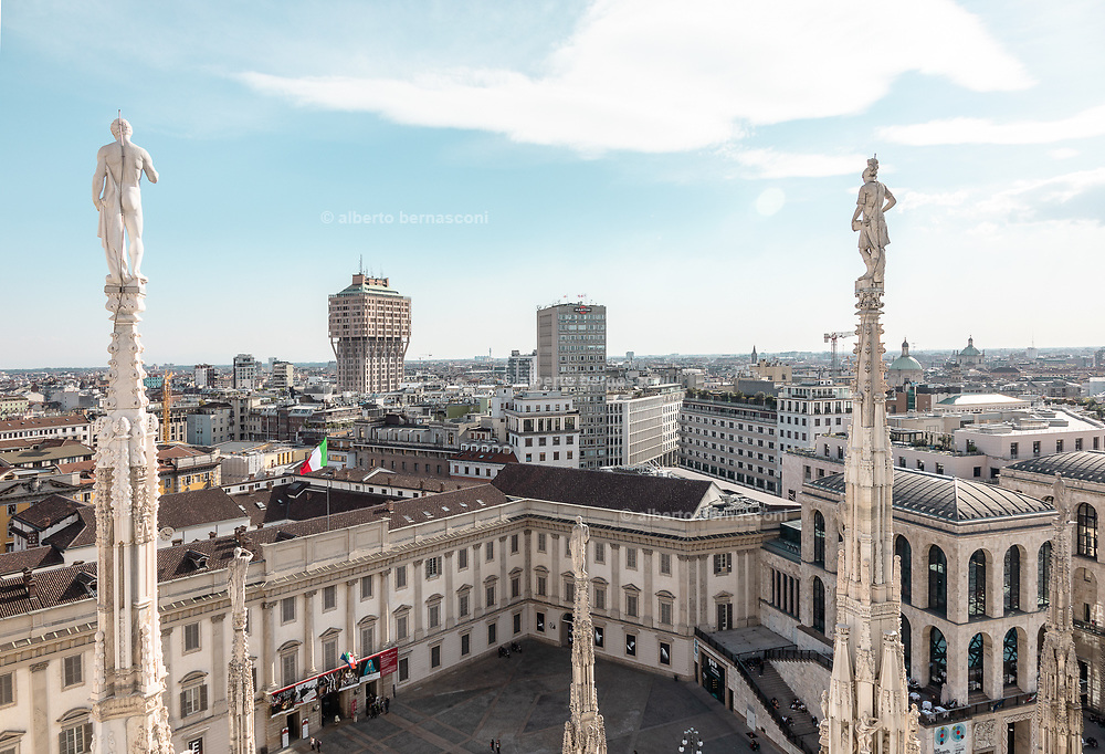 Milan, view  from the Duomo rooftop, the Torre Velasca