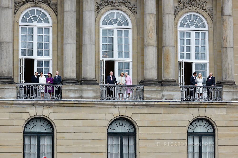 16.04.2015. Copenhagen, Denmark.<br /> Prince Daniel, Crown Princess Victoria, Queen Silvia and King Carl XVI Gustaf of Sweden. (L)<br /> Constantine II, Anne-Marie of Greece and Princess Benedikte. (C)<br /> Crown Prince Haakon, Princess Mette-Marit, King Harald of Norway (R) attended The 75th Birthday of Queen Margrethe of Denmark at Amalienborg Palace.<br /> Photo:© Ricardo Ramirez