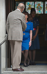 © London News Pictures. 09/06/2012. London, UK. Prince Philip, The Duke of Edinburgh shaking the hand of a nurse curtseying as he leaves King Edward VII hospital in London on June 09, 2012 in time to spend his 91st birthday at home tomorrow (Sunday). The Duke of Edinburgh had spent five nights in hospital in Central London after falling during the Queens Diamond Jubilee celebrations. Photo credit: Ben Cawthra/LNP