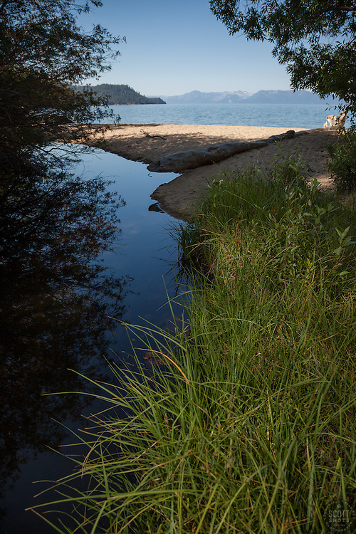 """Marlette Creek at Chimney Beach"" - Photograph of Marlette Creek where it enters Lake Tahoe at Chimney Beach."