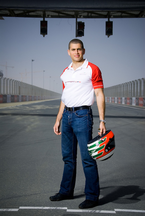 Lebanese race car driver, Basil Shaaban poses for a portrait at the Dubai Autodrome race track on Tuesday, March 19, 2007. Shaaban is currently a driver for  A1 Grand Prix Team Lebanon. He recently announced his bid to become the first Arab to reach Formula One through his program SHAABAN2F1.