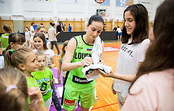 Nika Baric of Slovenia with fans after friendly basketball match between Women National teams of Slovenia and Croatia before FIBA Eurobasket Women 2017 in Prague, on June 1, 2017 in Celje, Slovenia. Photo by Vid Ponikvar / Sportida