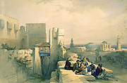 Citadel of Jerusalem April 19 1841. Hand-coloured lithograph by Louis Haghe, 1842, after the painting by David Roberts (1796-1864) Scottish painter. Palestine Orientalist  Arab Male Smoking Pipe