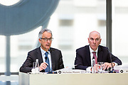 Macquarie Group FY 18 Result Announcement. Photos show Nicholas Moore MD & CEO, Alex Harvey-CFO, Sam Dobson Head of IR and the Chairman Peter Warne, 50 Martin Place, Sydney.