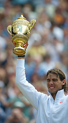 LONDON, ENGLAND - Sunday, July 4th, 2010: Rafael Nadal (ESP) celebrates his 6-3, 7-5, 6-4 Gentlemen's Singles Final victory on day thirteen of the Wimbledon Lawn Tennis Championships at the All England Lawn Tennis and Croquet Club. (Pic by David Rawcliffe/Propaganda)