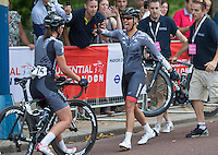 Winner Barbara Guarischi celebrates with her team mate after her victory in the Prudential RideLondon Grand Prix, Saturday 1st August 2015. <br /> <br /> Prudential RideLondon is the world&rsquo;s greatest festival of cycling, involving 95,000+ cyclists &ndash; from Olympic champions to a free family fun ride - riding in five events over closed roads in London and Surrey over the weekend of 1st and 2nd August 2015. <br /> <br /> Photo: Jed Leicester for Prudential RideLondon <br /> <br /> See www.PrudentialRideLondon.co.uk for more.<br /> <br /> For further information: Penny Dain 07799 170433<br /> pennyd@ridelondon.co.uk