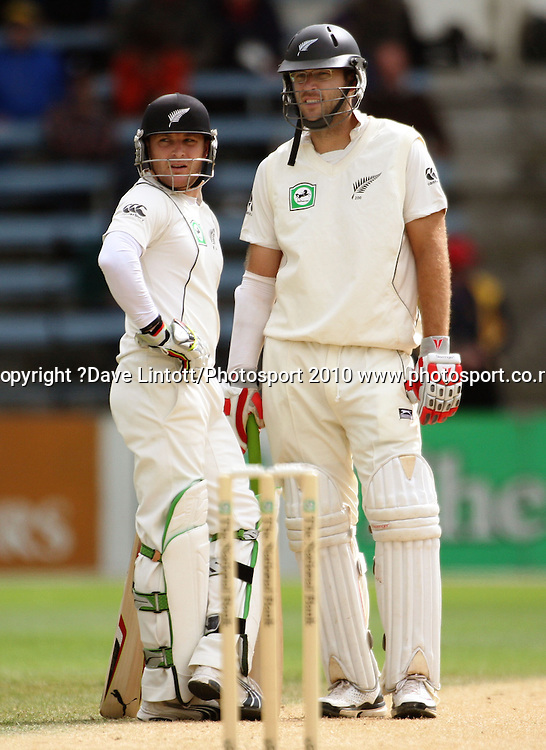 NZ batsmen Brendon McCullum and Daniel Vettori.<br /> 1st cricket test match - New Zealand Black Caps v Australia, day four at the Basin Reserve, Wellington. Monday, 21 March 2010. Photo: Dave Lintott/PHOTOSPORT