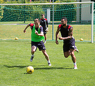 Dundee&rsquo;s Kane Hemmings and Nick Ross - Day 2 of Dundee FC pre-season training camp in Obertraun, Austria<br /> <br />  - &copy; David Young - www.davidyoungphoto.co.uk - email: davidyoungphoto@gmail.com