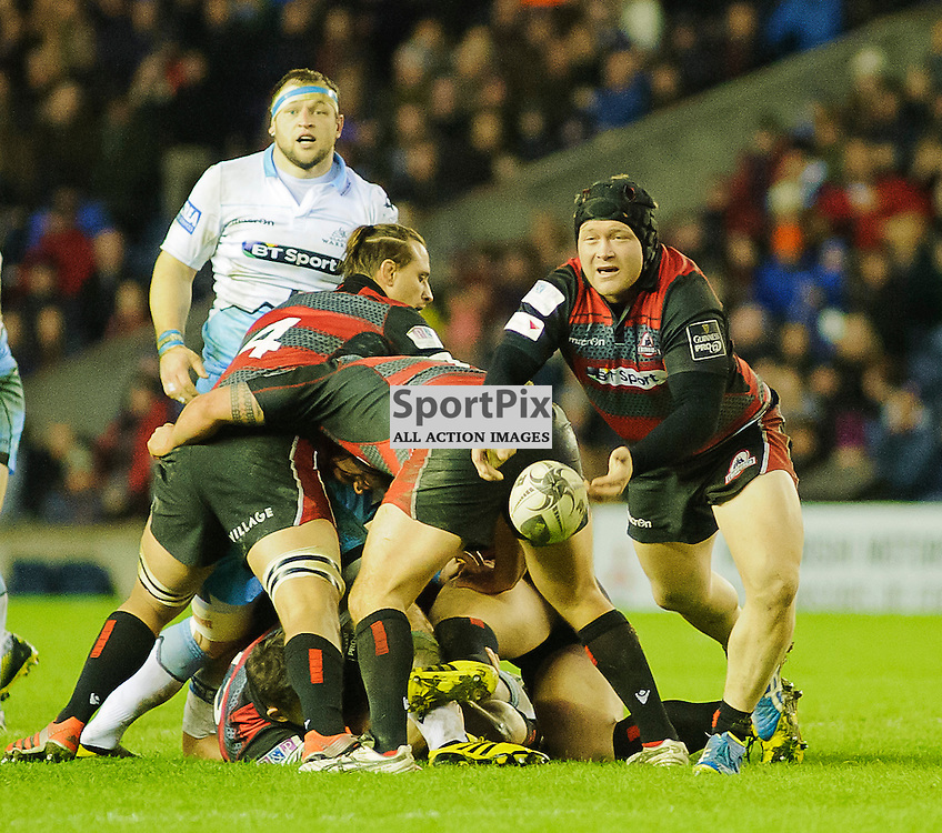 27/12/2015, Murrayfield, Scotland, WP NEL passes from a ruck during the Edinburgh Rugby v Glasgow Warriors Guinness PRO12 & 1872 Cup game, ......(c) COLIN LUNN | SportPix.org.uk