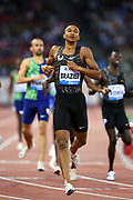 Donavan Brazier (USA) wins the 800m in 1:42.70 - the No. 2 mark in U.S. history - in the IAAF Diamond League final during the Weltkasse Zurich at Letzigrund Stadium, Thursday, Aug. 29, 2019, in Zurich, Switzerland. (Jiro Mochizuki/Image of Sport)