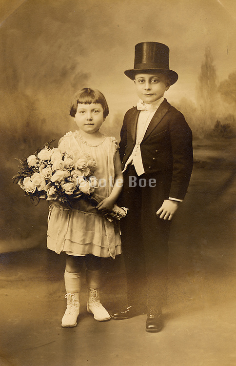 Portrait of bridesmaid and ring bearer.