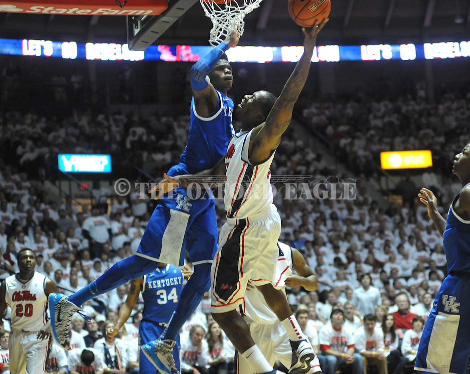 "Ole Miss' Murphy Holloway (31) vs. Kentucky's Nerlens Noel (3) at the C.M. ""Tad"" Smith Coliseum on Tuesday, January 29, 2013. Kentucky won 87-74. Kentucky's Nerlens Noel (3) had 12 blocks in the game, a Kentucky school record. (AP Photo/Oxford Eagle, Bruce Newman).."