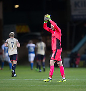 18th November 2017, Dens Park, Dundee, Scotland; Scottish Premier League football, Dundee versus Kilmarnock; Dundee goalkeeper Elliott Parish applauds the fan at the end