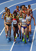 Laura Muir (GBR) sets the pace in the Women's 3000m Final during the IAAF World Indoor Championships at Arena Birmingham in Birmingham, United Kingdom on Thursday, Mar 1, 2018. (Steve Flynn/Image of Sport)