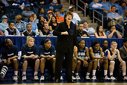 Old Dominion head coach Wendy Larry.  The #11 ranked / #5 seed Old Dominion Lady Monarchs defeated the #24 ranked / #4 seed Virginia Cavaliers 88-85 in overtime in the second round of the 2008 NCAA Women's Basketball Championship at the Ted Constant Convocation Center in Norfolk, VA on March 25, 2008.