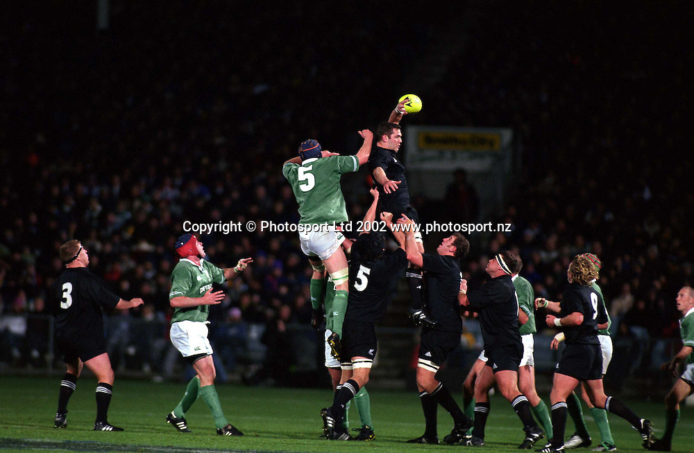 Reuben Thorne goes up for a lineout ball during the rugby union test match between the All Blacks and Ireland, 15 June, 2002. Photo: Andrew Cornaga/PHOTOSPORT