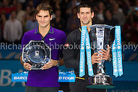 Barclays ATP World Tour Finals 2012 ..Roger Federer (SUI)  loses to Novak Djokovic (SRB)  7:6  7:5 in the Final..Images taken by Richard Washbrooke