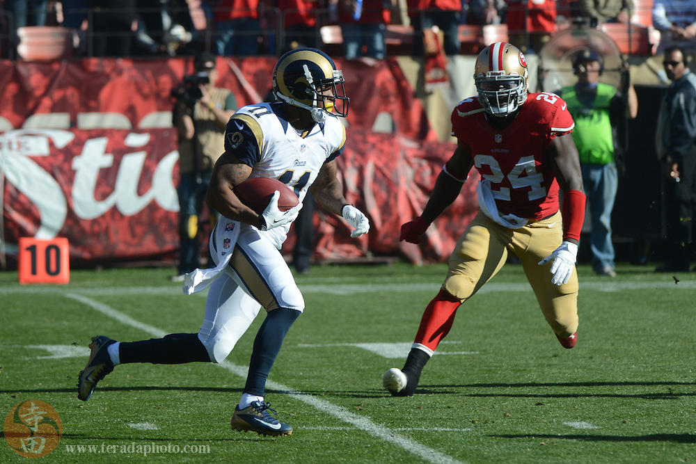 December 1, 2013; San Francisco, CA, USA; St. Louis Rams wide receiver Tavon Austin (11) runs the football against San Francisco 49ers running back Anthony Dixon (24) during the first quarter at Candlestick Park. The 49ers defeated the Rams 23-13.