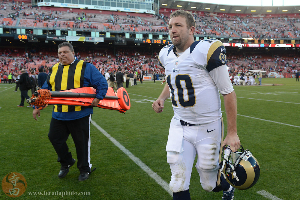 December 1, 2013; San Francisco, CA, USA; St. Louis Rams quarterback Kellen Clemens (10) jogs off the field after the game against the San Francisco 49ers at Candlestick Park. The 49ers defeated the Rams 23-13.