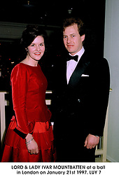 LORD & LADY IVAR MOUNTBATTEN at a ball in London on January 21st 1997.LUY 7