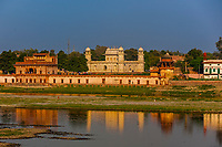 Tomb of Itimad ud Daulah, referred to as the Baby Taj Mahal, along the banks of the Yamuna River, Agra, Uttar Pradesh, India.