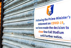 A general view outside the One Call Stadium, home to Mansfield Town, which is temporarily closed due to the Coronavirus restrictions. (Image taken prior to UK lockdown) - Mandatory by-line: Ryan Crockett/JMP - 23/03/2020 - FOOTBALL - One Call Stadium - Mansfield, England - Mansfield Town FC