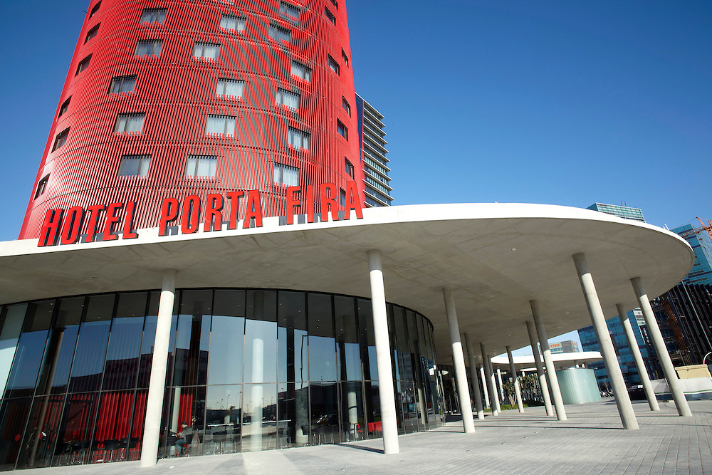 "Feb, 03. 2010. City of Barcelona. New hotel ""Porta Fira"" made by the japanesse architect Toyo Ito. The hotel recently opened is next to la fira de Barcelona convenions center."