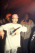 Clubber dancing at a free party, Nottingham 1990's
