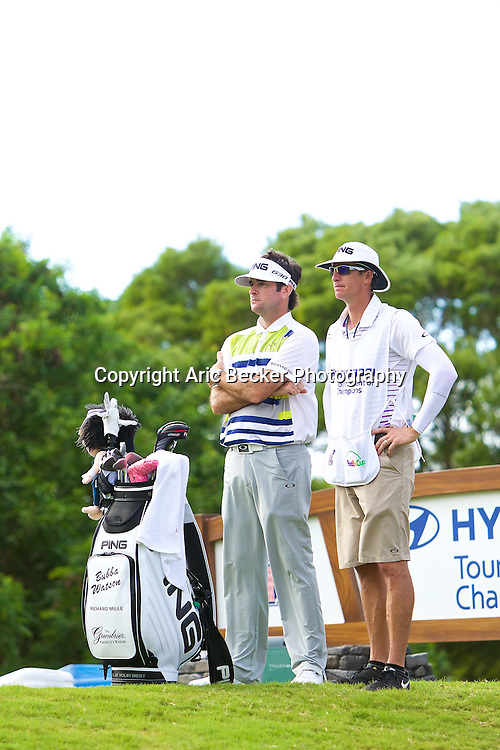 January 09 2015:  Bubba Watson waits to tee off on number fifteen during the First Round of the Hyundai Tournament of Champions at Kapalua Plantation Course on Maui, HI.