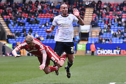 Middlesbrough Midfielder, Adam Clayton and Bolton Wanderers Midfielder, Darren Pratley in action during the Sky Bet Championship match between Bolton Wanderers and Middlesbrough at the Macron Stadium, Bolton, England on 16 April 2016. Photo by Mark Pollitt.