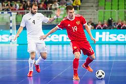 Ivan Chiskala of Russia and Taynan of Kazakhstan during futsal match between Russia and Kazakhstan in Third place match of UEFA Futsal EURO 2018, on February 10, 2018 in Arena Stozice, Ljubljana, Slovenia. Photo by Ziga Zupan / Sportida