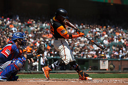 SAN FRANCISCO, CA - AUGUST 26: Andrew McCutchen #22 of the San Francisco Giants at bat against the Texas Rangers during the first inning at AT&T Park on August 26, 2018 in San Francisco, California. The San Francisco Giants defeated the Texas Rangers 3-1. All players across MLB will wear nicknames on their backs as well as colorful, non-traditional uniforms featuring alternate designs inspired by youth-league uniforms during Players Weekend. (Photo by Jason O. Watson/Getty Images) *** Local Caption *** Andrew McCutchen
