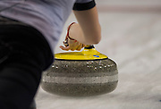 "Glasgow. SCOTLAND. The grip on the ""Stone"",   during  the ""Round Robin"" Game.  Scotland vs Russia,  Le Gruyère European Curling Championships. 2016 Venue, Braehead  Scotland<br /> Thursday  24/11/2016<br /> <br /> [Mandatory Credit; Peter Spurrier/Intersport-images]"