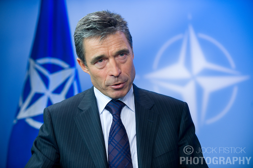 Anders Fogh Rasmussen, the secretary general of the North Atlantic Treaty Organization, speaks during a live television interview at NATO headquarters, in Brussels, Belgium, on Monday August 31, 2009. (Photo © Jock Fistick)
