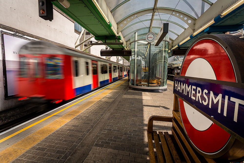 A train leaves Hammersmith Tube Station
