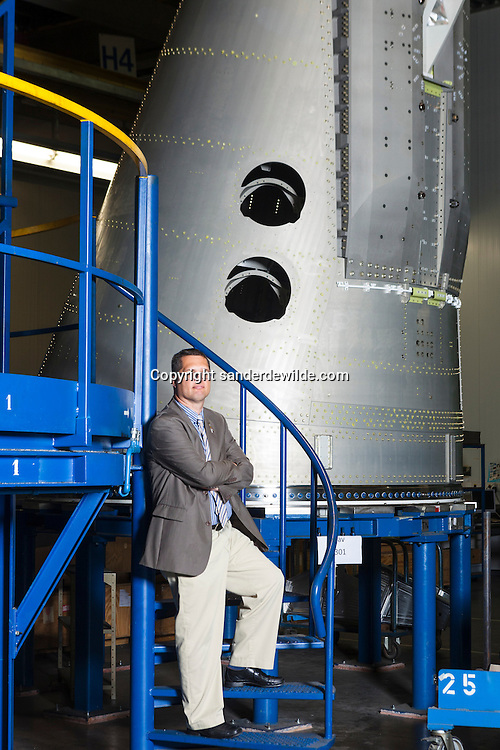 S.A.B.C.A. factory in Brussels works for  the IXV project (European Space Agency, esa).Didier Verhoeven in the factory with Ariane nose in background.