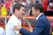 Nottingham Forest manager Philippe Montanier talks with Burton Albion Manager Nigel Clough ahead of the EFL Sky Bet Championship match between Nottingham Forest and Burton Albion at the City Ground, Nottingham, England on 6 August 2016. Photo by Jon Hobley.