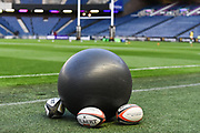 Warm up balls ahead of the Guinness Pro 14 2018_19 match between Edinburgh Rugby and Benetton Treviso at Murrayfield Stadium, Edinburgh, Scotland on 28 September 2018.