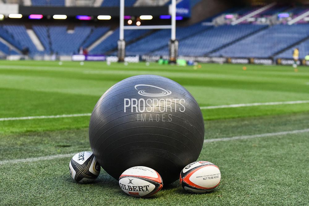 Warm up balls ahead of the Guinness Pro 14 2018_19 match between Edinburgh Rugby and Benetton Treviso at Murrayfield Stadium, Edinburgh, Scotland on 28 September 2018.