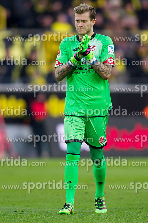 13.03.2016, Signal Iduna Park, Dortmund, GER, 1. FBL, Borussia Dortmund vs 1. FSV Mainz 05, 26. Runde, im Bild Torwart Loris Karius (FSV Mainz 05 #1) // during the German Bundesliga 26th round match between Borussia Dortmund and 1. FSV Mainz 05 at the Signal Iduna Park in Dortmund, Germany on 2016/03/13. EXPA Pictures &copy; 2016, PhotoCredit: EXPA/ Eibner-Pressefoto/ Schueler<br /> <br /> *****ATTENTION - OUT of GER*****