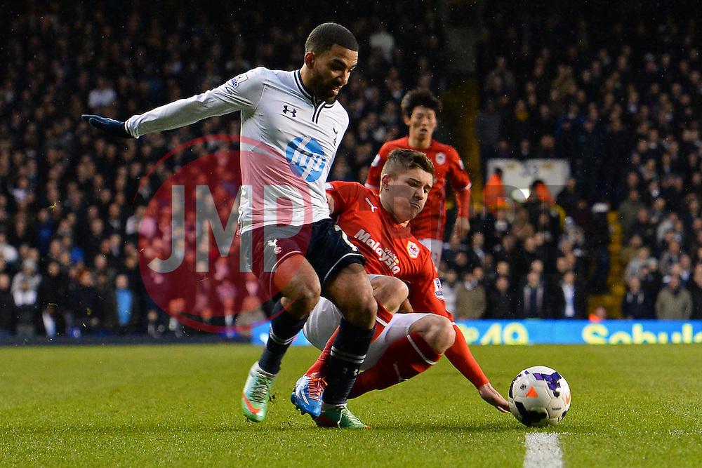 Tottenham's Aaron Lennon is fouled - Photo mandatory by-line: Mitchell Gunn/JMP - Tel: Mobile: 07966 386802 02/03/2014 - SPORT - FOOTBALL - White Hart Lane - London - Tottenham Hotspur v Cardiff City - Premier League