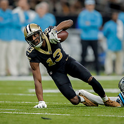 Dec 30, 2018; New Orleans, LA, USA; New Orleans Saints wide receiver Michael Thomas (13) catches a pass past Carolina Panthers cornerback James Bradberry (24) during the first half at the Mercedes-Benz Superdome. Mandatory Credit: Derick E. Hingle-USA TODAY Sports