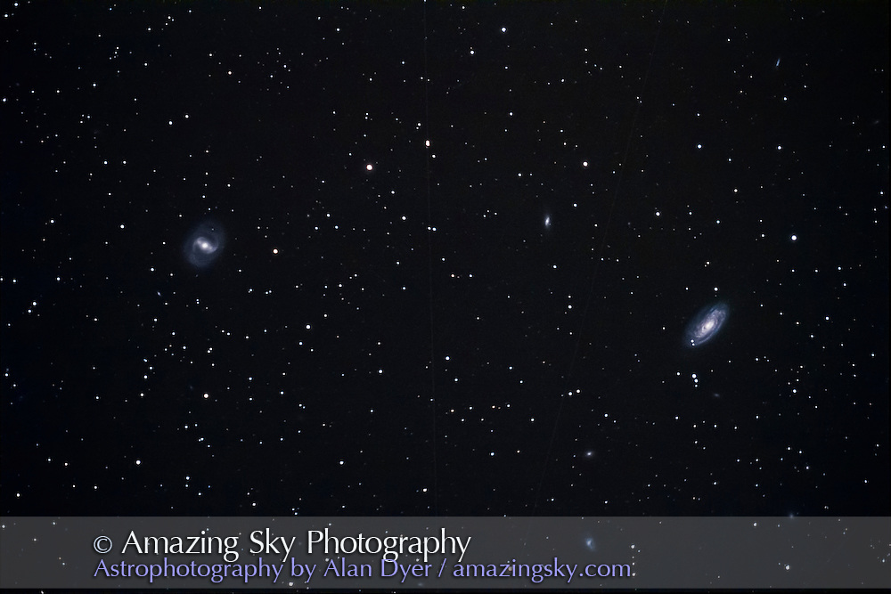 M88 (right) and M91 (left), a pair of spiral galaxies in Coma Berenices, taken May 6, 2013 from home, with the 130mm Astro-Physics apo refractor at f/6 and Canon 60Da at ISO 800 for a stack of 4 x 10 minute exposures.