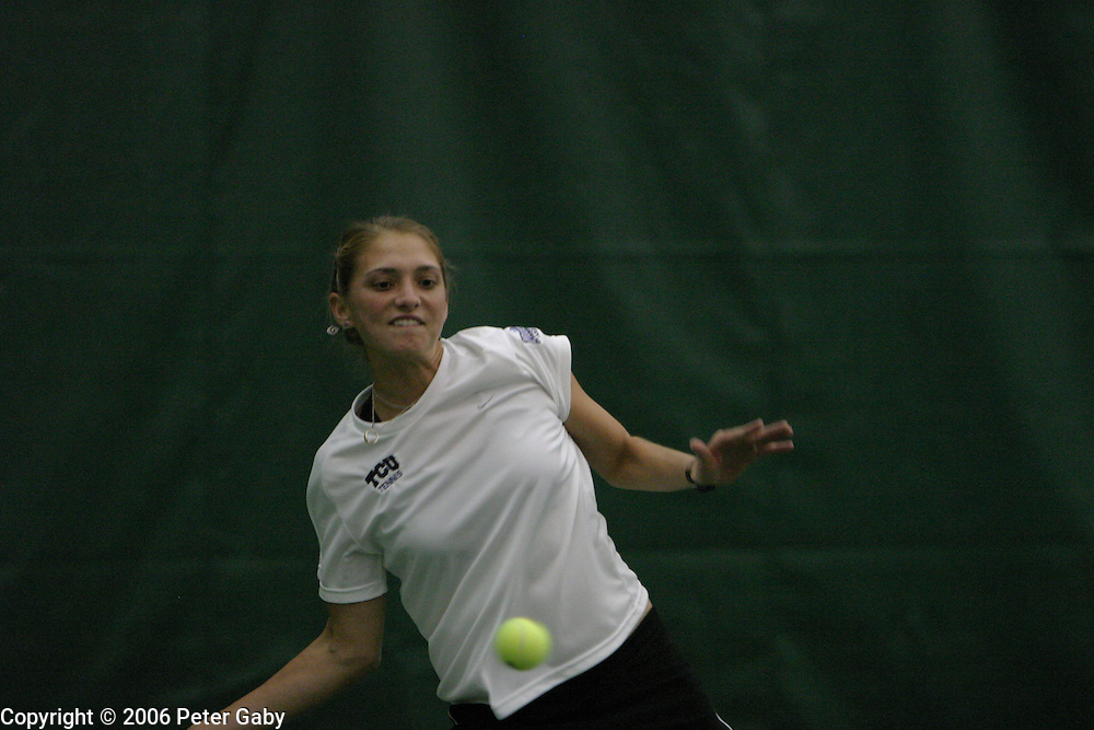 Tanya Markovic, North Carolina, vs. Kewa Nichols, TCU at the 19th Annual USTA/ITA National Women's Team Indoor Championships at the Nielsen Tennis Stadium in Madison, WI. Feb. 2-5, 2006