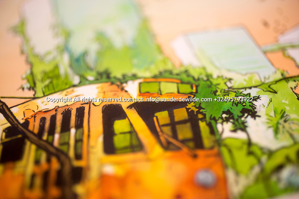 Brussels, Belgium 29 August 2014. Detail of a cartoon on Brussels with a typical tram by Johan De Moor, famous Belgian cartoonist and son of Bob De Moor, right hand of Tintin's Hergé in his studio. © Sander de Wilde pour M le magazine du Monde